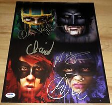 Cool Kick-Ass Cast Signed 11x14 By 4 Johnson Moretz Cage Mintz-Plasse PSA LOA