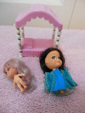2 Mattel Little Kiddles  and canopy bed    FREE shipping