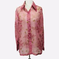 Miss Shaheen Blouse Size 14 Pink Green Butterfly Sheer Shimmer Vintage Top Shirt