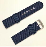 Correa De Nylon Para Reloj - 22 mm - Hebilla De Metal - Tipo Militar - Azul