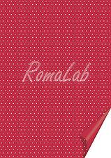 20 FOGLI in cartoncino color rosso A4 stampato a pois bianchi x SCRAPBOOKING