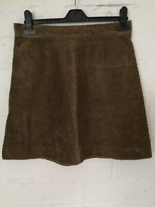 Ladies Vanessa Bruno Short Cord Skirt Size 10 Brown Zip Fasten