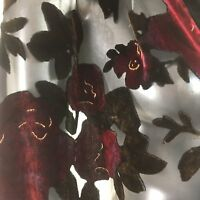 """Besarani Collection London Miliano Silk Scarf Black Red Floral Roses 70"""" X20"""""""