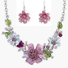 Multicolor Enamel Flower Leaf Rhinestone Necklace Pendant Earrings Jewelry Set