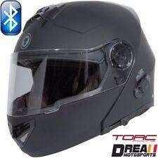 TORC T27B BLUETOOTH MATTE FLAT BLACK SOLID MODULAR MOTORCYCLE HELMET DOT XS-XL
