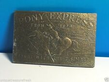 PONY EXPRESS MAIL COLLECTIBLE VINTAGE BELT BUCKLE FROM 1849 SOLID BRASS HORSE US