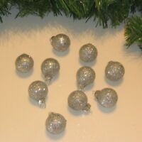 Miniature Small Balls Ornaments Silver Christmas Glass Glitter, Feather Tree