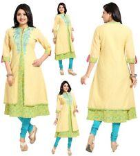 Women Indian Long Embroidery Yellow A-Line Cotton Kurti Tunic Kurta Dress MM185