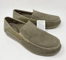 Crocs Men's Santa Cruz 2 Luxe Canvas Slip On Loafer Walnut Mens Size 12 NEW