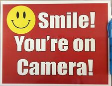 2 x Smile you are on camera sign water resistant sticker self adhesive