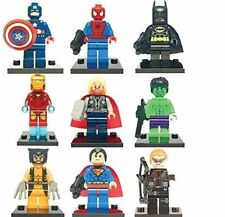 SUPER EROI MINI FIGURES 9 PZ DC MARVEL si adatta Natale LEGO Batman Ironman Hulk UK
