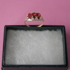 FANTASTIC 9CT SOLID YELLOW GOLD NATURAL GARNET & DIAMOND RING SIZE O IN GIFT BOX