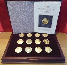 More details for john pinches boxed set 12 pompeii x proof gilt bronze 38mm medallions + certs