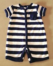 NWT - 000 - NAVY BLUE & CREAM STRIPES ROMPER SUIT FOR YOUR BABY - GIRL OR BOY