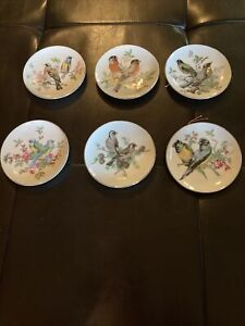 Vintage Set Of 6 MiniDecorative Hanging Plates with Painted Birds & Gold Trim