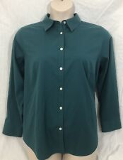 Talbots Wrinkle Resistant Women's Long Sleeve Button Up Green Blouse 20WP
