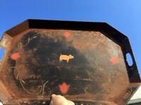 Vintage Antique Rustic Folk Art PIG & TULIPS Tole Ware Platter Serving Tray ❤️j8