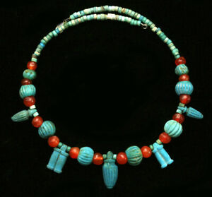 Ancient glass beads: genuine ancient Egyptian faience necklace w amulets, beads