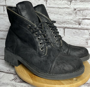 Carlos Santana Simone Size 7.5 Womens Motorcycle Ankle Boots Black Faux Leather