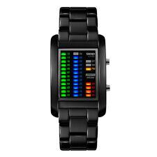 Men Lovers Fashion Zinc Alloy 50M Waterproof Watch Led Binary Wristwatch