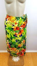 Vtg 90's Jams World Medium Tropical Hawaiian High Waist Hippie Wrap Skirt USA