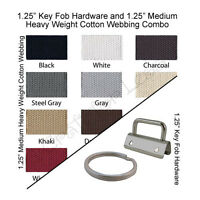 "25 Key Fob Hardware and 10 Yards Medium-Heavy Weight Cotton Webbing 1.25"" Combo"