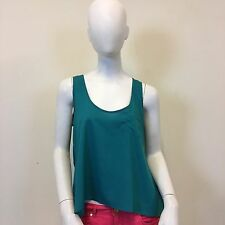Gap Ladies Teal Chiffon Scoop Neck Sleeveless Zip Pocket Vest Tank Top UK Size 8