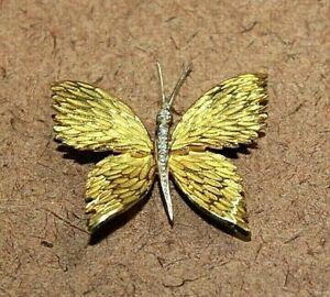 Tiffany & Co. 18k Gold Two Tone Diamond Butterfly Pin/Brooch [100WEI]