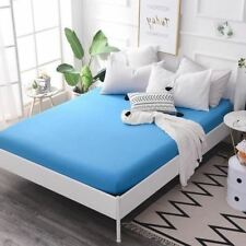 1 Pcs Blue Fitted Sheet Mattress Cover with All-around Elastic Rubber Band Print