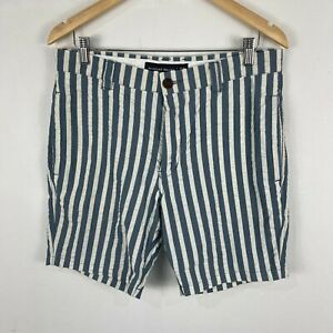 Academy Brand Mens Shorts Size 32 Blue Striped Zip Chino Slim Fit