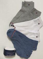 Tommy Hilfiger Women's 6-Pair QTR Crew Socks 6-9.5  Blue/White/Gray Cushion Sole