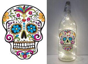 IKEA KORKEN wine bottle 101 Sugar Skull Day of the dead DIY printed vinyl