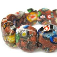 Flower Design Lampwork Glass Goldstone Tibet Buddhist Prayer Beads Mala Bracelet