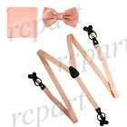 New in box Men's Convertible Elastic Strap Suspender Bowtie Hankie Mauve Pink