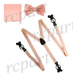 New in box Men's Convertible Elastic Strap Suspender_Bowtie Hankie Mauve Pink