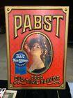 "Vintage Pabst Blue Ribbon Beer PBR Embossed Parlor Girl Sign 20"" x 28"""