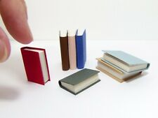 7 Miniature Dollhouse Books, different size and colours, real Paper Pages Set 1