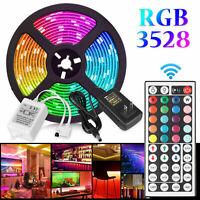 RGB Waterproof 5M 16.4ft 3528 SMD 300 LED Strip Light Flexible 12V+44 Key Remote