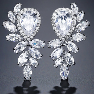 BRAND NEW MARQUISE CUT WHITE GOLD PLATED CLEAR CUBIC ZIRCONIA BRIDAL EARRINGS