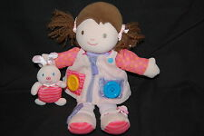 Carters Baby Girl Pink Learn To Dress Doll Button Zip Buckle  Brown Hair Plush
