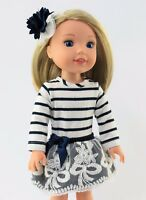 """Navy Stripe Lace Dress Fits Wellie Wishers 14.5"""" American Girl Clothes"""