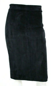 BRUNELLO CUCINELLI Midnight Blue Suede Leather Pencil Skirt 44