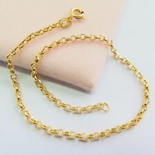 "New Real 18K Yellow Gold Bracelet Woman's 2mm Lucky Rolo Link Fine Chain/ 6.9""L"