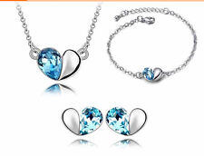 Silver plated Sea Blue Crystal Two Color Heart Shape 3 piece Jewelry Set