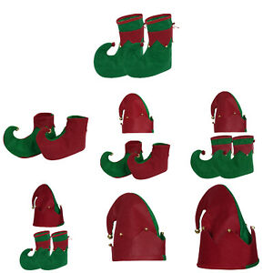 Xmas Cosplay Costume Christmas Elf Bells Decor Hat with Shoes for Adult Children