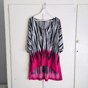 CHARLIE BROWN black white pink stripe long loose fit top V neck 14 XL | like new