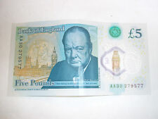 AA30 Bank Of England £5 Five Pound Note - New issue Plastic/Polymer