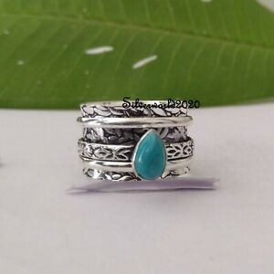 Turquoise Spinner Ring 925 Sterling Silver Plated Handmade Ring Size 9.5 vi293