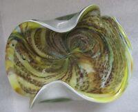 Vtg MURANO TUTTI FRUTTI BOWL SILVER Foil MID-CENTURY ART GLASS Animal SPOT Print