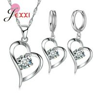 925 Sterling Silver CZ Crystal Heart Pendant And Necklace And Earring Set *UK*